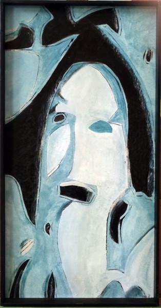 Femme bleu riante